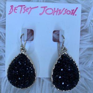 Betsey Johnson black/gold diamonté earrings